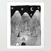 camping Art Prints featuring Camping. by Caleb Boyles