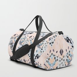 watercolor IKAT collage, mixed media, pastel pattern, pink, indigo, grey, black, sky blue Duffle Bag