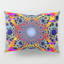Grey Multi Colored Geometric Optical Art Pillow Sham