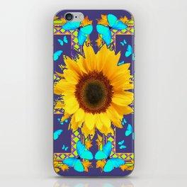 Turquoise Butterflies & Yellow Sunflower Puce-Grey Art iPhone Skin