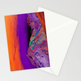 California's Sierra Mts-Digital Art, Orange & Purple Stationery Cards