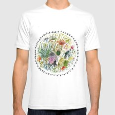 Succulents Mandala White 2X-LARGE Mens Fitted Tee