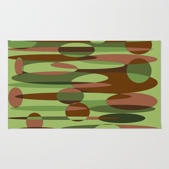 Trendy Green and Brown Camouflage Spheres Rug