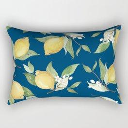 Navy Lemon Watercolor Painting - Lemon Pattern Rectangular Pillow