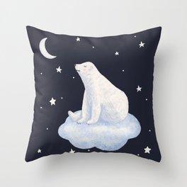 white bear on the cloud Throw Pillow