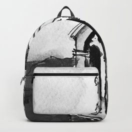 Blue Chapel Santorini Greece Black and White Watercolor Painting Backpack