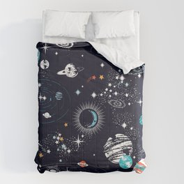 Space Galaxy Blue Orange Comforters