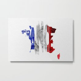 France Typographic World Map / France Typography Flag Map Art Metal Print