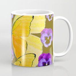 SPRING PURPLE PANSY FLOWERS & YELLOW BUTTERFLIES GARDEN Coffee Mug