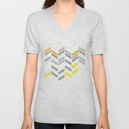 Deconstructed Chevron A – Gray / Yellow / Orange Pattern Print Unisex V-Neck