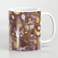 potter Mugs featuring Potter Paisley by Kate Moore