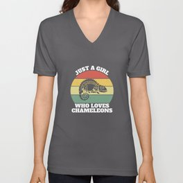 Just A Girl Who Loves Chameleons Chamaeleons  Unisex V-Neck