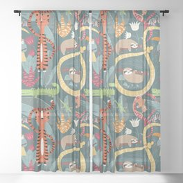 Rain forest animals 003 Sheer Curtain