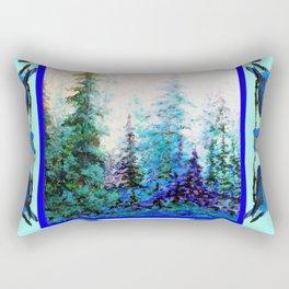 BLUE BUTTERFLIES BLUE BIRDS BLUE FOREST ART Rectangular Pillow