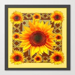 Brown & Yellow Sunflower Grey Art Canvas Print