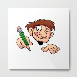 Illustration of a boy writing Metal Print
