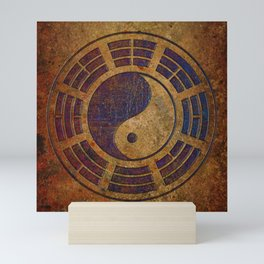 Purple Yin Yang Sign on Granite Mini Art Print