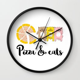 Pizza & Cats Wall Clock