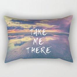 Take Me There Beach Sunset Text Rectangular Pillow