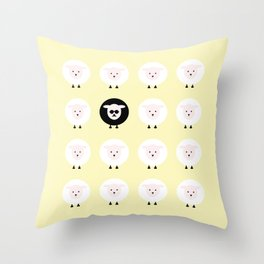 Black sheep on a yellow tale Throw Pillow