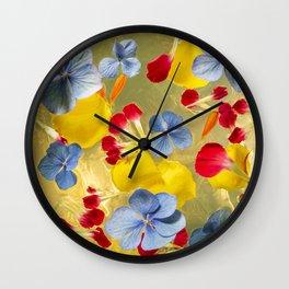 Flowers in golden shine Wall Clock