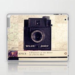 Vintage black camera and Joyce and Dracula books on Map pattern background  Laptop & iPad Skin