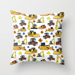 Construction Vehicles Pattern Throw Pillow