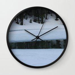Snow. Stripes. Fogged Mirror. Wall Clock