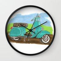 vespa Wall Clocks featuring Vespa by JasonKoons