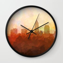 Cleveland, Ohio Skyline - In the Clouds Wall Clock