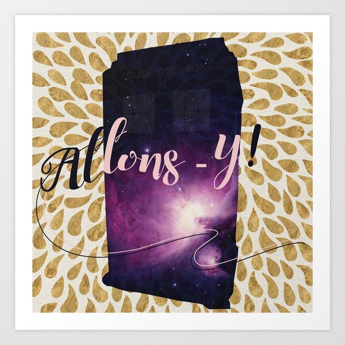Golden Tardis Allons-y! Art Print