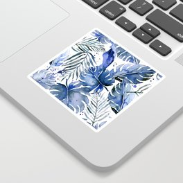 Tropical plants in indigo blue Sticker