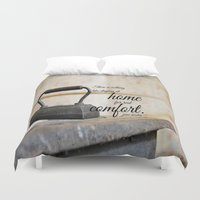 jane austen Duvet Covers featuring Jane Austen Quote Staying Home Real Comfort by KimberosePhotography