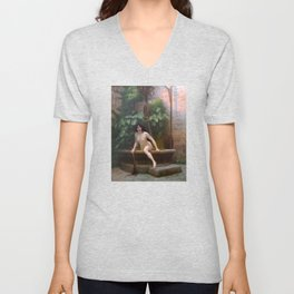 Truth Coming Out Of Her Well To Shame Mankind Jean-Leon Gerome Unisex V-Neck