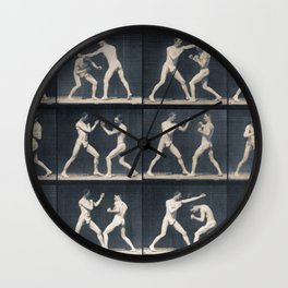 Time Lapse Motion Study Men Boxing Boxer Boxers Fighting Ring Wall Clock