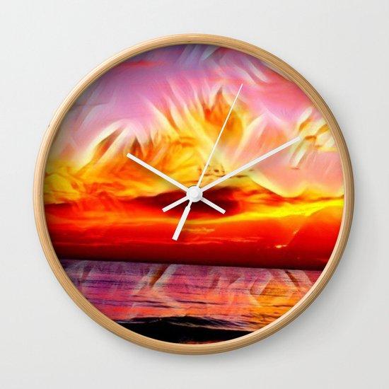 Sky on Fire (Sunset over Great Lake Michigan Beach) Wall Clock