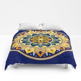 Italian Tile Pattern – Peacock motifs majolica from Deruta Comforters