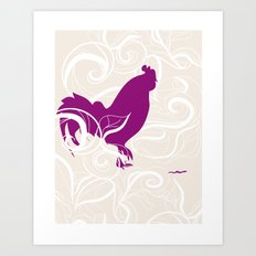 Farm Poster #2 - Rooster & Worm Art Print