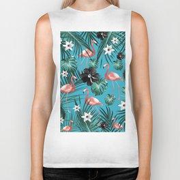 Tropical Flamingo Flower Jungle #2 #tropical #decor #art #society6 Biker Tank