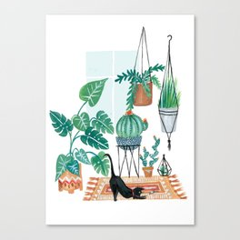 Cat in Potted Jungles Canvas Print