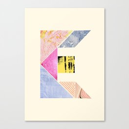 Collaged Tangram Alphabet - E Canvas Print