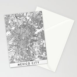 Mexico City White Map Stationery Cards