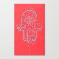 hamsa Canvas Prints featuring Hamsa by Grace Anderson
