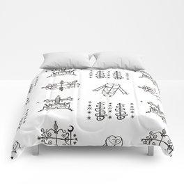 Papa Legba + Baron Samedi + Gran Bwa + Damballah-Wedo Voodoo Veve Symbols in White Comforters