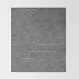 Modern rose gold geometric triangles blush pink abstract pattern on grey cement industrial Throw Blanket
