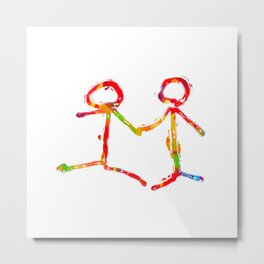 happy couple holding hands in red yellow blue green Metal Print