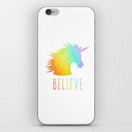 Believe  |  Rainbow Glitter Unicorn iPhone Skin