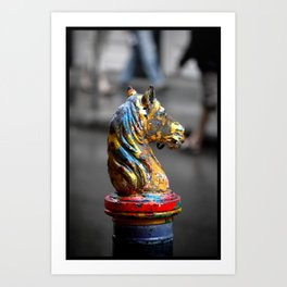 Colorful Horsehead Horse Tie-post, New Orleans Art Print