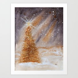 Magical Gold Christmas Tree in Snowy Night Watercolor Art Print