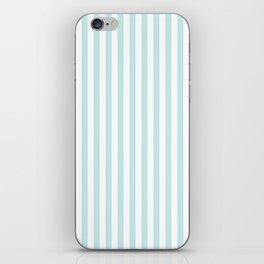 Duck Egg Pale Aqua Blue and White Wide Thin Vertical Deck Chair Stripe iPhone Skin